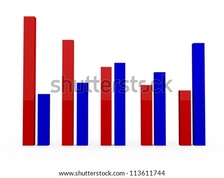 Blue growth and red recession, failure charts, isolated on white background.