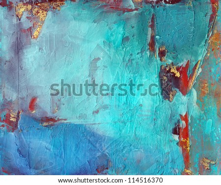 Blue grunge abstract textured background with gold and rust.