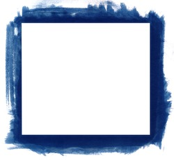 Blue grunge abstract watercolour frame with space for your text or image. All elements painted by me.