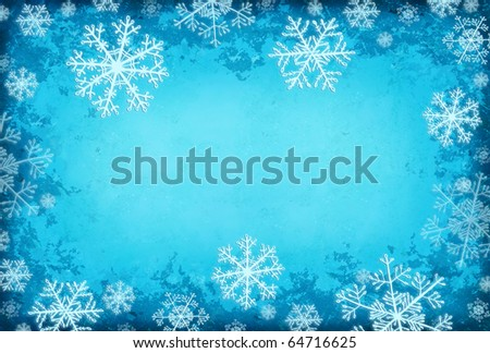 Blue grunge border with snowflakes