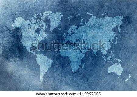 blue grunge world map