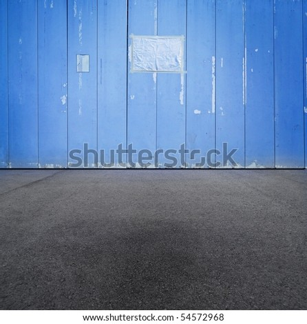 Blue grungy construction wall