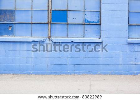 blue grungy wall with windows background