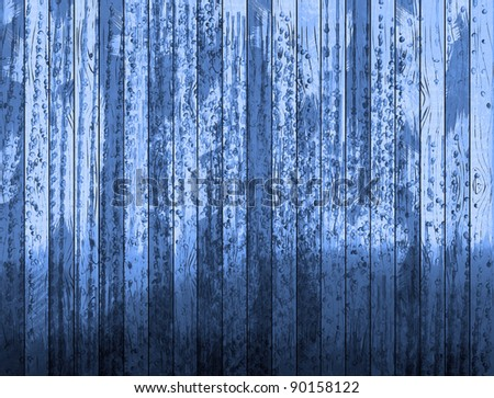Blue grungy wooden planks. #90158122