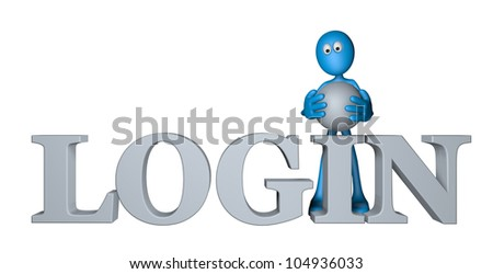 blue guy and the word login - 3d illustration