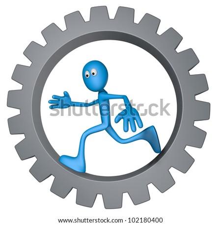 blue guy is running inside gear wheel - 3d illustration
