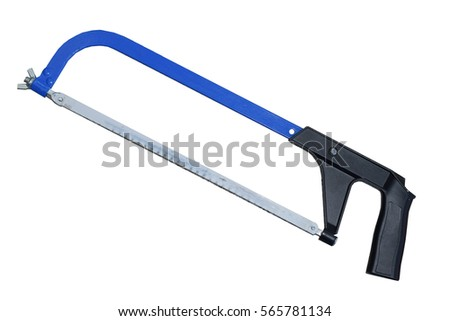 Blue hacksaw with black handle. Isolated