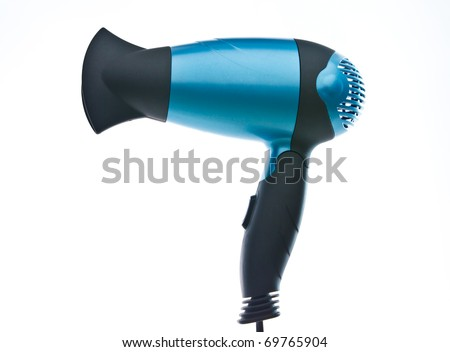 Blue hair dryer isolated on white