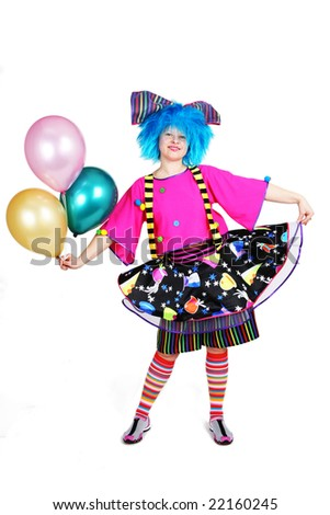 blue hair funny clown with color balloons in hand