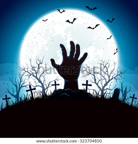 Blue Halloween background with hand on cemetery and Moon, illustration. #323704850