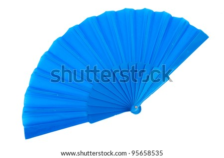blue hand fan isolated on white