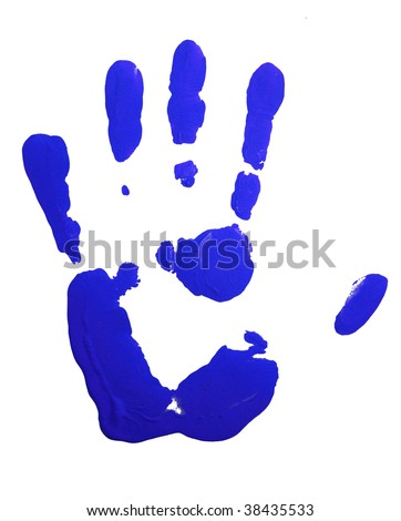 Blue hand-print on white.