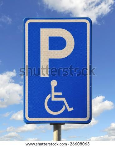 Blue handicap parking or wheelchair parking space