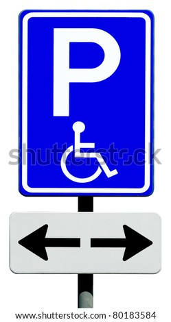 Blue handicapped parking sign for disabled drivers