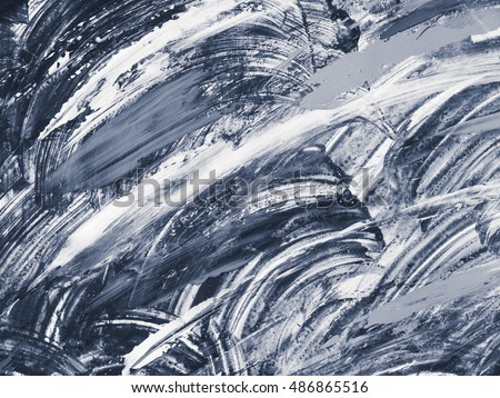 Blue handmade texture. Creative background with abstract acrylic painted waves. Modern art. Contemporary art. #486865516