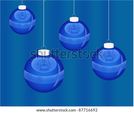 Blue hanging balls with blue background