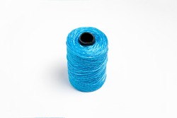 Blue hank of nylon rope isolated on white background.High resolution photo.Top view.