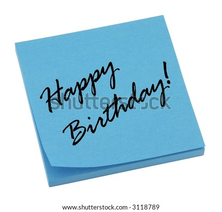 Blue happy birthday memo isolated on white.