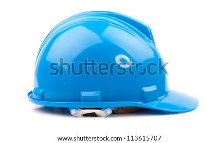 blue hard hat isolated on white