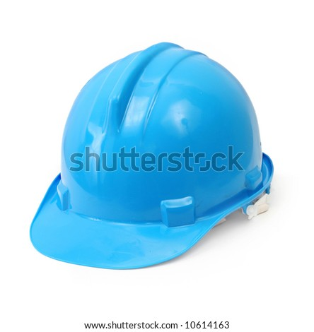 blue hard hat isolated on white background