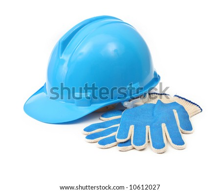blue hardhat and gloves isolated on white background