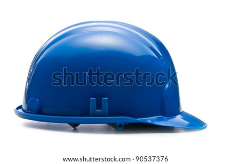 blue hardhat on white background