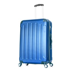 Blue Hardside Carry On Spinner Isolated on White Background. Zipperless Hand Luggage Bag. Vip Trolley Bag. Trolley Travel Bag. Spinner Trunk. Wheeled Luggage. Side View Modern Suitcase