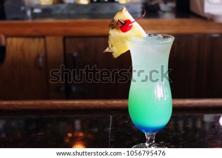 Blue Hawaii Cocktail on Bar