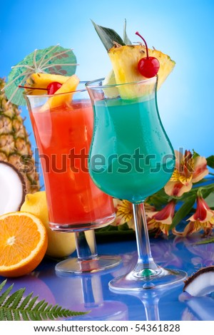 Blue Hawaiian and Hurricane cocktails. Most popular cocktails series.