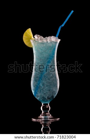 Blue Hawaiian cocktail on a black