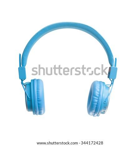 Blue headphones on white background