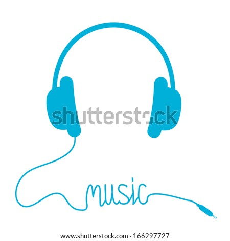 Blue headphones with cord in shape of word Music. Isolated. Card. Rasterized copy.