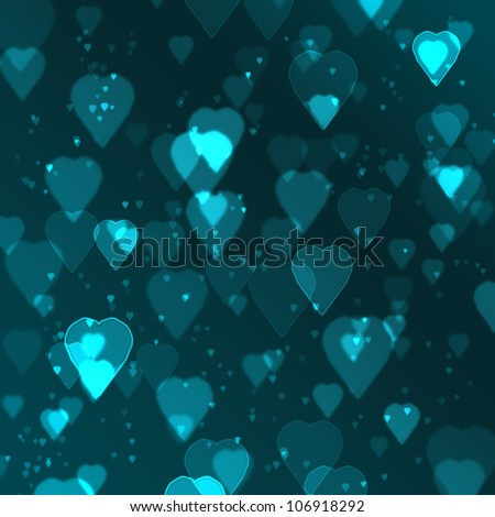 blue heart bokeh background made from digital graphic.