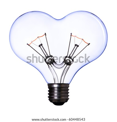 blue heart shape lamp bulb on white background