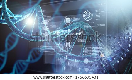 Blue helix human DNA structure Foto stock ©