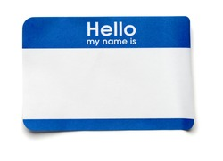 Blue Hello Name Tag on White