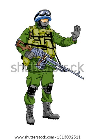 Blue Helmet soldier peacemaker makes a stop sign, illustration, cartoon, clipart