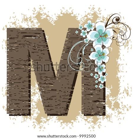 blue hibiscus grunge vintage alphabet M (raster) - stock photo