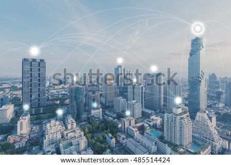 Blue high-tech tone of cityscape connected line, technology concept, internet of things conceptual #485514424