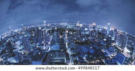 Blue high-tech tone of cityscape connected line, technology concept, internet of things conceptual #499848517