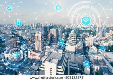 Blue high-tech tone of cityscape connected line with wifi sign, technology concept, internet of things conceptual #503122378