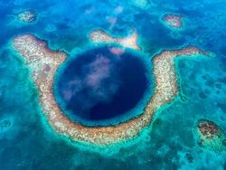 Blue Hole Aerial Shot, Belize
