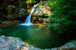 Blue Hole Waterfalls is in the Cherokee National Forest in Elizabethton, Tennessee in Carter County