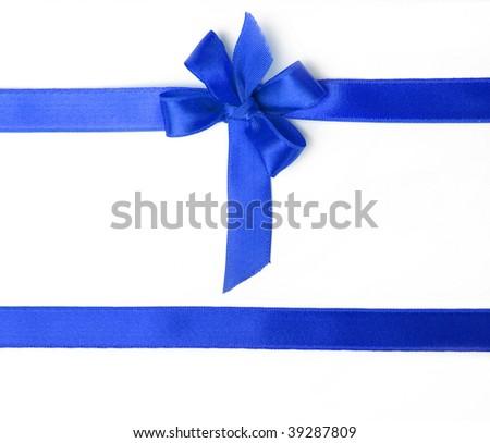 blue holiday bow on white background