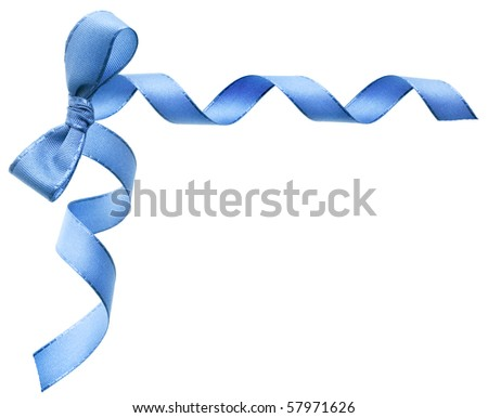blue holiday ribbon bow on white background