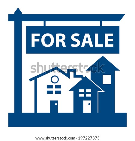 Blue Home, Apartment, Building, Condominium or Real Estate For Sale Sign Icon, Sticker or Label Isolated on White Background