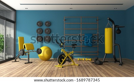 Blue home gym with punching boxer,cyle and other fitness equipment - 3d rendering Foto d'archivio ©