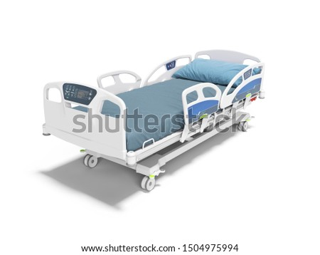Blue hospital bed with lifting mechanism on an autonomous control panel with control panel isolated 3d render on white background with shadow