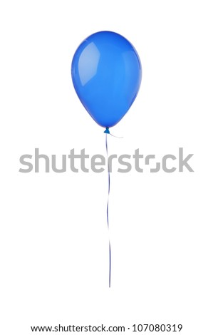 Blue hot air flying balloon isolated on white background