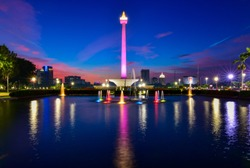 blue hour at national monument jakarta indonesia